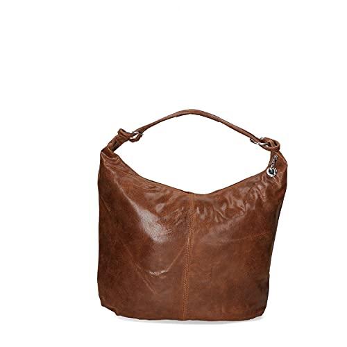 Chicca Borse Borsa hobo donna borsa sottospalla in pelle camoscio stampato borsa grande italiana - Marrone