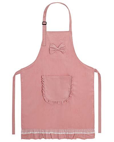 JSDing Schürze Damen Baumwolle Kochschürze Damen mit Verstellbarer Nackengurt und Große Tasche Personalisierte Schürze für BBQ Kochen Backen Reinigung Werkstatt Bar