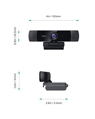 AUKEY Webcam 1080p Full HD mit Stereo-Mikrofon, Web-Kamera für Videochat und Aufnahme, kompatibel mit Windows, Mac und Android