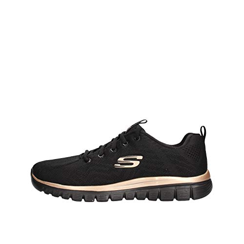 Skechers - Zapatillas deportivas - Modelo Graceful Get Connected Black Rose Gold - Zapatillas de mujer - Material tela negra - Modelo n. 12615 BKRG Negro Size: 38 EU