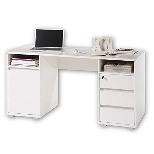 PRIMUS 2 Schreibtisch mit Schubladen, Weiß - Bürotisch Computertisch fürs Homeoffice mit Stauraum und offenen Ablagefächern - 145 x 74 x 65 cm (B/H/T)