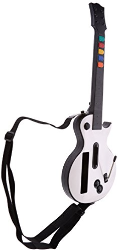 Wireless Guitar for Wii Guitar Hero and Rock Band Games (exclude Rock Band 1) Color White, Compatible with All Guitar Hero games and Rock Band 2