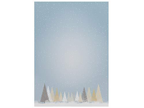 Weihnachtsbriefpapier | Winterlicher Märchenwald | 20 Blatt Motivpapier DIN A4
