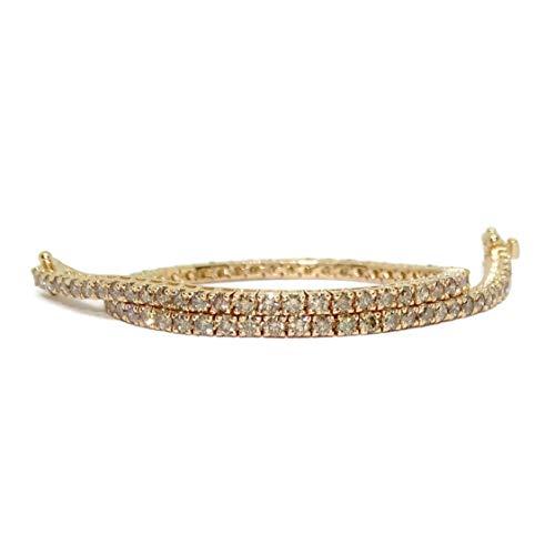 Pulsera Tipo Riviere de Diamantes y Oro de 18k con Diamantes Champán en oro rosa de 18k o con Diamantes Negros en oro blanco de 18k. Para Hombre o Mujer. 19.50cm de larga (diamantes champán)