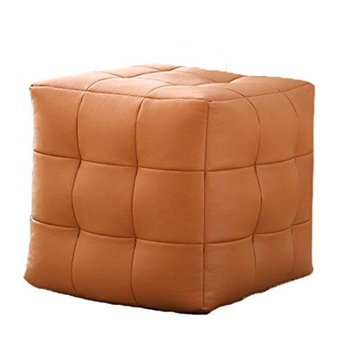 NNHDWS Leather Stool, Sofa Stool, Footstool, Creative Living Room, Japanese-Style Tatami Small Apartment Home Square Stool, 4 Colors Available,orange,S