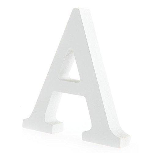 Worsendy Buchstaben Holz weiß, Handwerk Holz Holz Briefe Braut Hochzeitsparty Geburtstag Spielzeug Home Dekorationen 8 * 6CM (A)