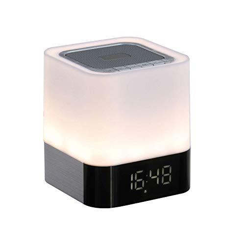 Bluetooth luidspreker met wekker, nachtlampje, handsfree radio, microfoon voor handsfree, wekker, USB-aansluiting, laadstation