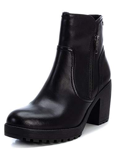 XTI - Botín Casual con Tacón para Mujer - Cierre con Cremallera - Color Negro