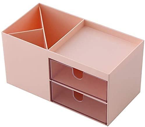 Gymqian Doppelschubladen Kunststoff Kosmetik Aufbewahrungsbox Schmuck Container Make-Up Fall Makeup Pinsel Halter Organizer Kosmetische Aufbewahrungsbox Mode/Rosa