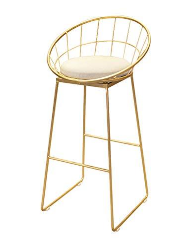 Tabourets de Bar Chaise Tabourets de Bar de Petit déjeuner/Tabouret de Bar avec Repose-Pieds et Base en métal/chaises de comptoir/Tabouret Haut Minimaliste Moderne en Or/Convient à la récept