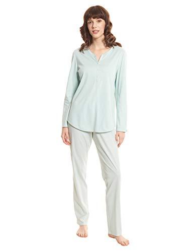 Rösch Damen Pyjama Set Schlafanzug Baumwolle Punkte-Druck Knopfleiste Elegant Schlicht Langarm Winter 1203509 50 Mini Dots
