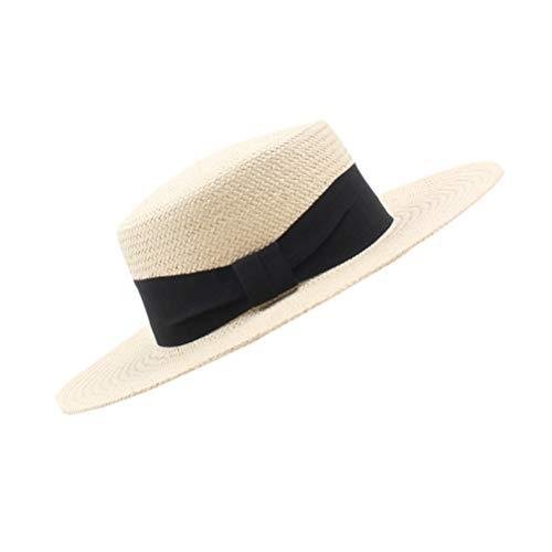 Chapéu de palha FENICAL 1 peça com laço de palha ajustável com palha trançada, durável, chapéu de sol para o dia a dia, férias na praia, Preto, 57*57cm