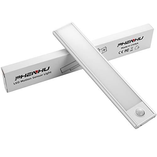 PHENHU - Luces del armario con detector de movimiento LED, sensor magnético para armario, luz nocturna con batería recargable por USB, para armarios, escaleras, pasillos, cocina, garaje