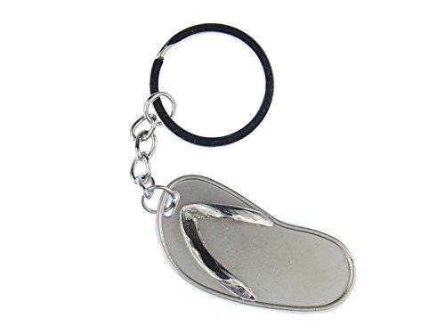 Miniblings Sandale Schlüsselanhänger Anhänger Schlüsselring Flip Flop Silber