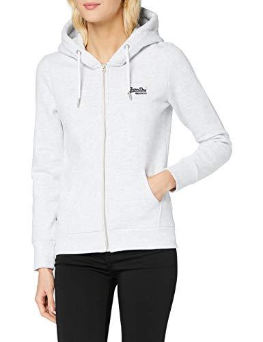 Superdry Womens ORANGE Label Ziphood NS Sweater, Ice Marl, M (Herstellergröße:12)