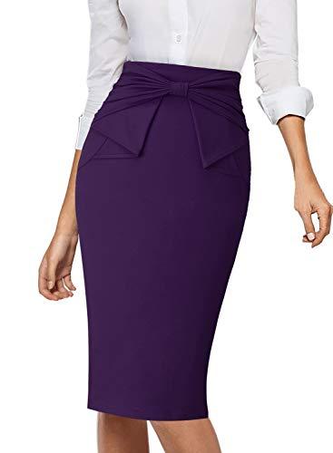 VFSHOW Womens Purple Pleated Bow High Waist Slim Work Office Business Pencil Skirt 865 New PUP XXL