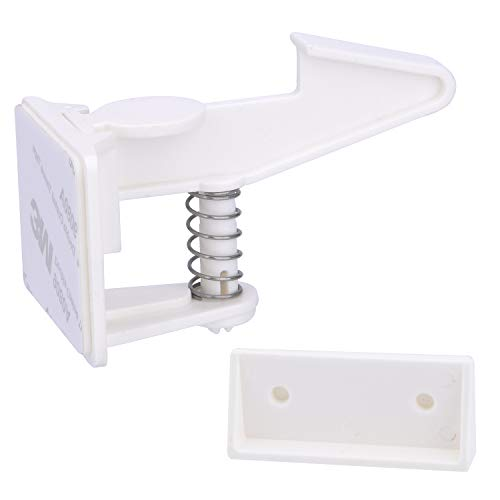Cabinet Locks Child Safety Latches - Vmaisi 12 Pack Baby Proofing Cabinets Drawer Lock with Adhesive Easy Installation - No Drilling or Extra Screws (White)