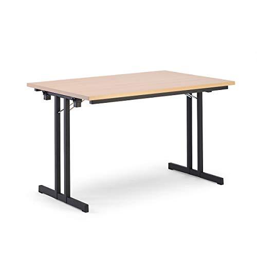 Certeo Klapptisch | HxBxT - 720 x 1200 x 800 mm | Extra starke rechteckige Platte | Gestell schwarz - Platte Buche-Dekor | Klapptisch Mehrzwecktisch Konferenztisch