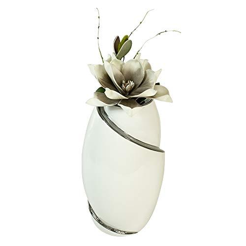 Formano Lot de 2 vases décoratifs avec fleurs artificielles Magnolia Blanc/argenté/gris/blanc Hauteur 32 cm