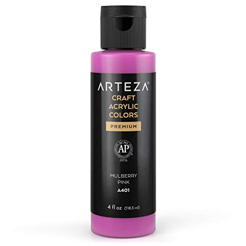 Arteza Craft Acrylic Paint, A401 Mulberry Pink, 4fl oz (118 ml) Bottles, Water-Based, Blendable, Matte Acrylic Paints for Art & DIY Outdoor Projects on Glass, Wood, Ceramics, Fabrics, Paper & Canvas