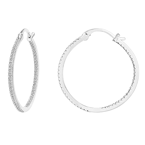 PAVOI 14K Gold Plated 925 Sterling Silver Post Cubic Zirconia Hoop Earrings   Large White Gold Hoops