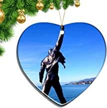 Kysd43Mill Switzerland Freddie Mercury Memorial Montreux Heart Shape Christmas Ornaments Ceramic Sheet Souvenir City Travel Pendant Gift Christmas Tree Decoration Ornaments Keepsake Gifts