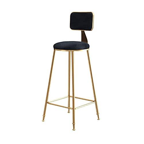 LSLYModern metall Barstol, Counter hög pallar för kök, bar, pub och restaurang, sammet stoppade platser, Golden Metal ben