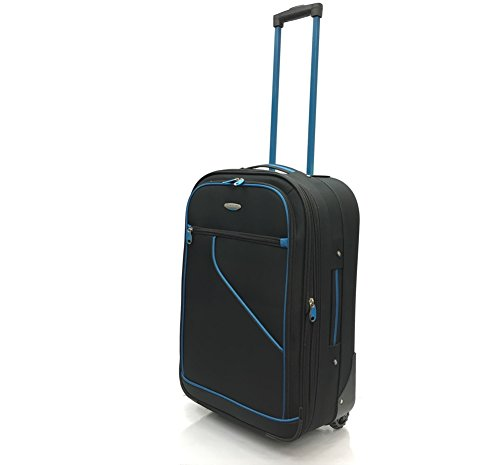 """EasyJet, BA, Jet 2, Super Lightweight Non-Expandable Cabin Approved Trolley 2 Wheeled Luggage Bag, FITS Within 56 x 45 x 25cm (21"""" EasyJet, Black/Blue 219)"""