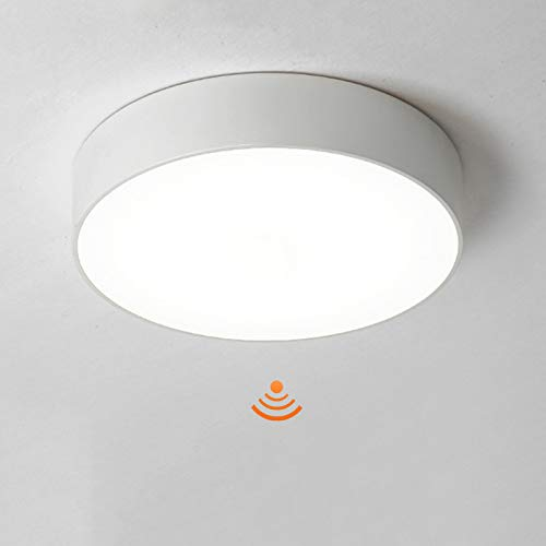 VOMI LED Lámpara de Techo con Radar Detector de Movimiento Blanco 18W Lámpara de Pasillo Interior Sensor Plafon Luz de Techo Redondo Luz Panel Lámpara de Escalera Corredor Balcón,Blanco,30CM