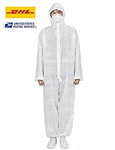 Disposable Protective Coverall with Hood Full Body Isolation Suit Elastic Wrist Protective Clothing Dust-proof Coverall Suit