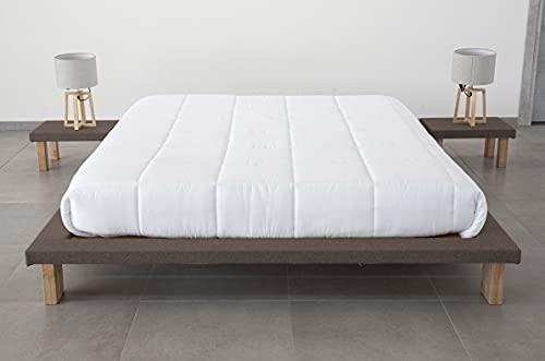 Evergreenweb – Cama japonesa modelo Tatami de 20 cm de alto con mesitas incluidas, cama de matrimonio de 160 x 190 cm, con somier de láminas, revestida de tela de color pardo, para todos los colchones