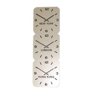 Large Horloge Acrylique Fuseaux Horaires Argent (H24.5cm x L73.5cm Triple Verticale)