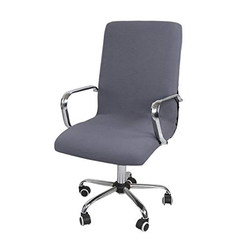 Jubang - Funda de silla de escritorio elástica para silla de oficina, funda extraíble para silla giratoria giratoria y reposabrazos gris L