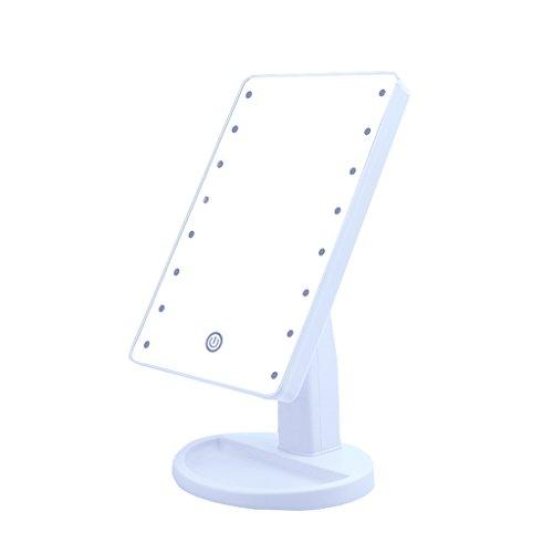 Espejo para maquillarse DBL Led de Escritorio Brillante Espejo cosmético Rectangular HD Espejo de vanidad Inteligente Espejo de Afeitar Espejo Giratorio de 180 ° fácil de Transportar (Color : White)