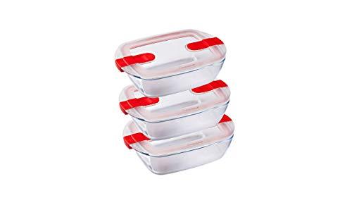 Pyrex - Cook and Heat Cook & Heat - Lot de Trois Boîtes Alimentaires Rectangulaires en Verre 1,1L avec Couvercle hermétique spécial Micro-Ondes - Boîtes de Conservation