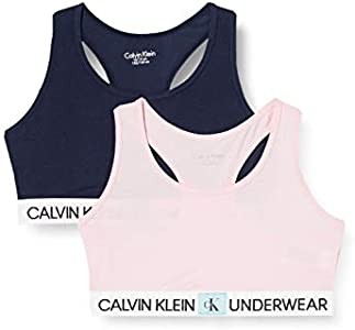 Calvin Klein 2pk Bralette Ropa interior,Rosa ( 1unique/1blackiris ) , 12/14 Unisex Niños