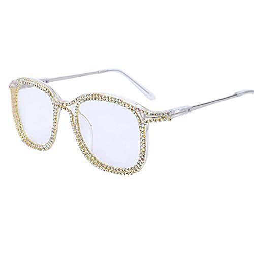 YU-HELLO _Gafas de sol de montura cuadrada con diamantes de imitación, estilo retro, para mujer