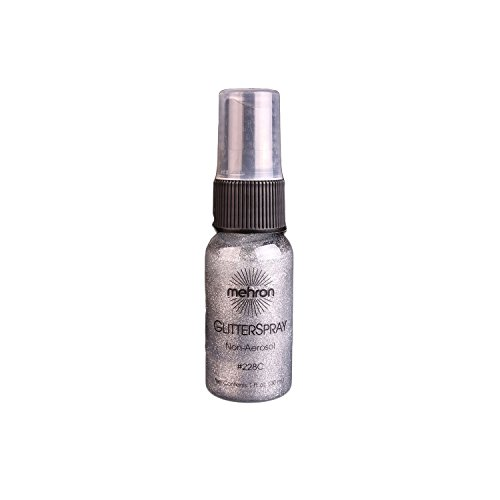 Mehron Professional Glitter Spray for Hair and Body, 1.0 Ounce - Silver