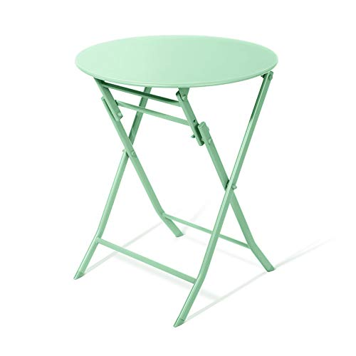 Table Pliante, Ronde, Fer Forgé, Table à Manger Simple, 60 Cm (23.62in) * 60 Cm (23.62in) * 71cm (27.95in), Jaune/Vert
