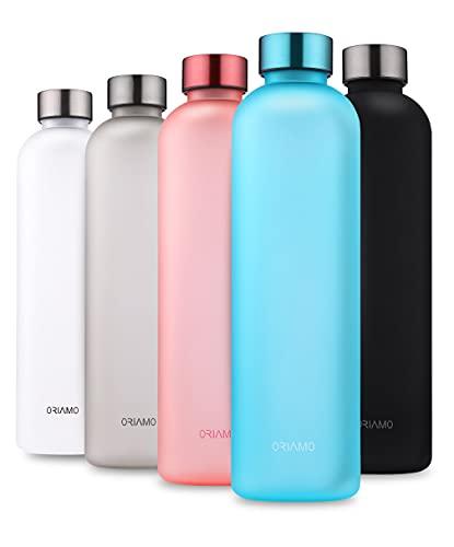 ORIAMO® Trinkflasche 1l - auslaufsicher, Kohlensäure geeignet - motivierende Zeitmarkierung als Trinkerinnerung - Wasserflasche aus Tritan für Sport, Fitness, Büro und für Unterwegs