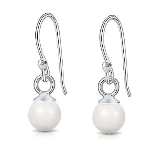 DTPsilver® Pendientes colgantes de plata de ley 925 pequeños con perlas de cristal redondas de Swarovski® Elements - Diámetro: 6 mm