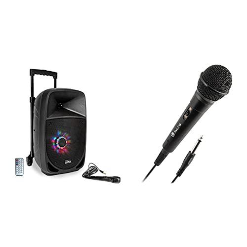 Party 8Led Altavoz Portatil A Baterias, 8%22, 150W-Rms, USB/BT/FM/Micro + Ngs Singer Fire Micrófono Vocal Dinámico, Micrófono con Cable De 3 Metros, Conexión Jack 6,3Mm Y Botón On/Off