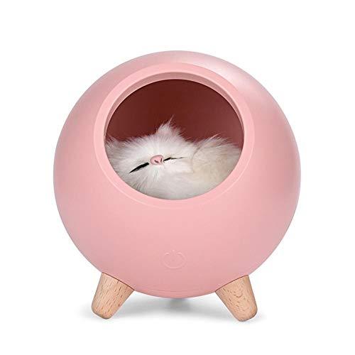 Bonita luz de noche para dormir, para dormitorio, mesita de noche, lámpara de carga para bebés, gatos, lámpara de carga para decoración del hogar (color de emisión: rosa).