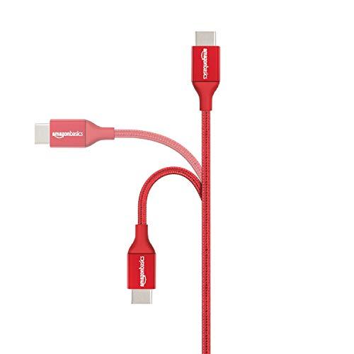 Amazon Basics - Verbindungskabel, USB Typ C auf USB Typ A, USB-2.0-Standard, doppelt geflochtenes Nylon, 0,3 m, Rot
