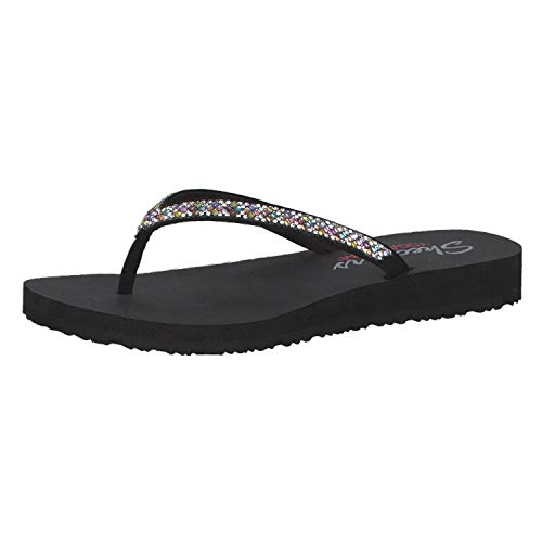 Skechers Women's Meditation-Perfect 10-Square Rhinestone Embellished Thong Flip-Flop, Black/Multi, 9 M US