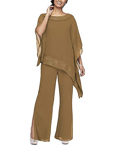 Women's Elegant Chiffon 3 Pieces Pant Suits Set Mother of The Bride Dresses with Outfit Wedding Party Plus Size(Brown,US20 Plus) (Apparel)