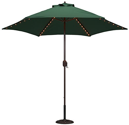 Tropishade Tropilight with LED Lighted 9 ft Bronze Aluminum Market Umbrella with Green Polyester Cover