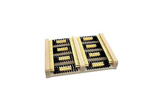 Deurmat met zijbalken. Deurmat, schoenen, deurmat. Natuurlijk hout met sterke kunststof borstelharen. Made in Germany