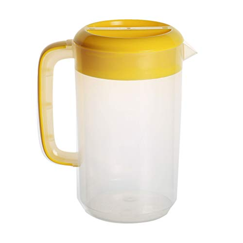 Lurrose Transparent Plastic Measuring Pitcher Milk Tea Pot Cold Water Kettle Liquid Measuring Cups for Storing and Serving Beverage 2500ml(Bright Yellow)