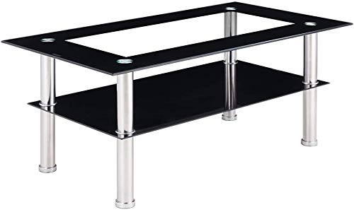 Schindora Modern Tempered Glass Coffee Table Clear Black With Shelf Living Room Furniture